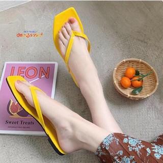 dép nữ xỏ ngón quai mảnh thời trang dạo phố bigsize ngoại cỡ từ size 33 đến 43 DEP&SHOCK - 12017-vàng thumbnail