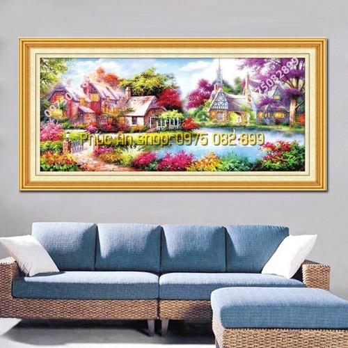 Ngôi nhà hạnh phúc df2127 - tranh đính đá giá rẻ