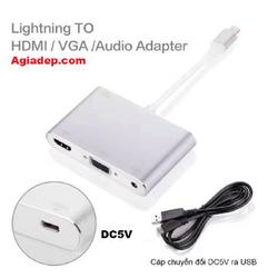 cáp chuyển đổi i-Phone ra HDMI + VGA adapter -KẾT NỐI ĐIỆN THOẠI iPHONE LÊN MÁY CHIẾU - LÊN TIVI