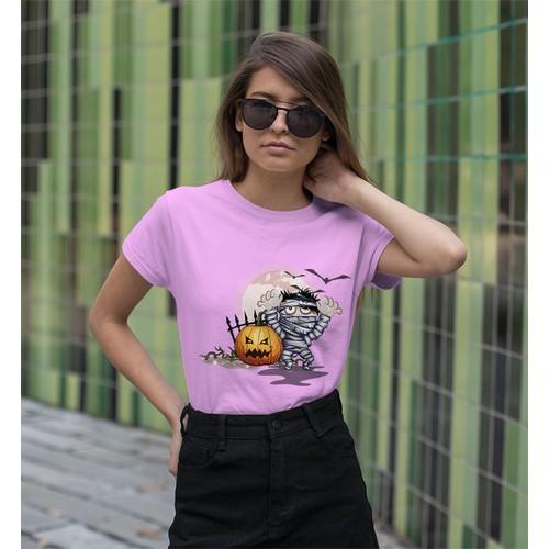 Áo thun nữ in hình thây ma và quả bí rợn người - cotton thun - phong cách dẽ thương - cá tính và đẹp