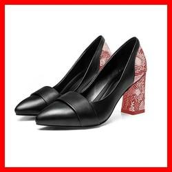 Giày cao gót nữ đẹp bít mũi đế vuông 7cm màu đỏ xanh hàng hiệu rosata
