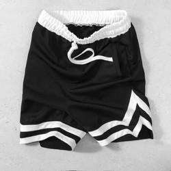 Quần short double v unisex | Quần short 2v nam nữ thể thao vải thun dày dặn tập gym màu đen | Chính Hãng