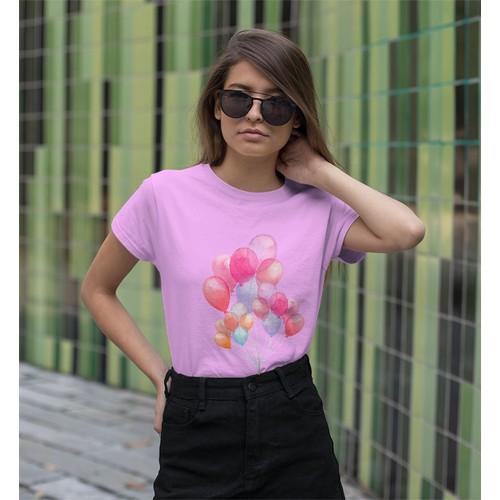 Áo thun nữ in hình bong bóng bay bay - cotton thun - phong cách dẽ thương - cá tính và đẹp