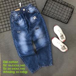 Quần jean dài bé trai jean cotton mềm nhẹ lưng thun hàng vnxk