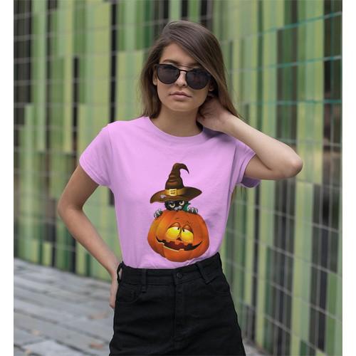 Áo thun nữ in hình con mèo và quả bí dễ thươngs - cotton thun - phong cách dẽ thương - cá tính và đẹp