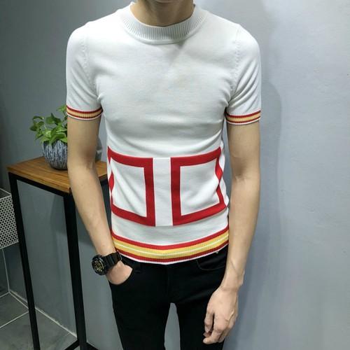 Áo len tay viền hình vuông mã: nt2332 - trắng