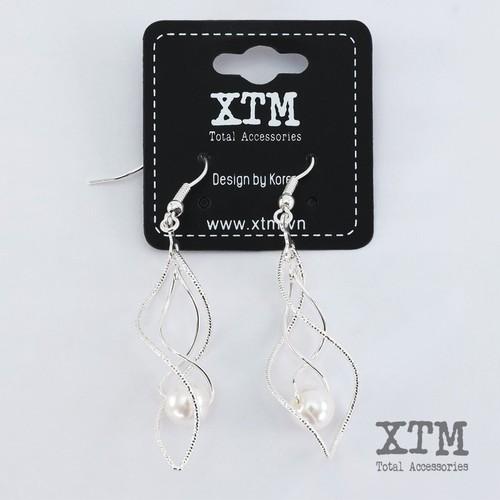 Bông tai kiểu dáng uốn xoắn ngọc trai thương hiệu xtm, phong cách thời trang hàn quốc sang trọng trang nhã, hàng xuất khẩu âu-mỹ xtm-k071-14