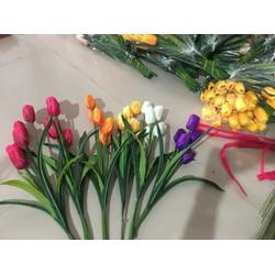 hoa giả - hoa tulip vải lụa 5 bông