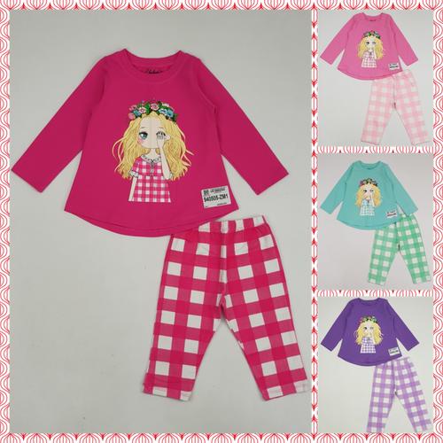 940505-Zm1- b.bg cotton, dài tay, quần kẻ, in cô gái, hồng đậm,size bé 1-7,ri7,t7a,3