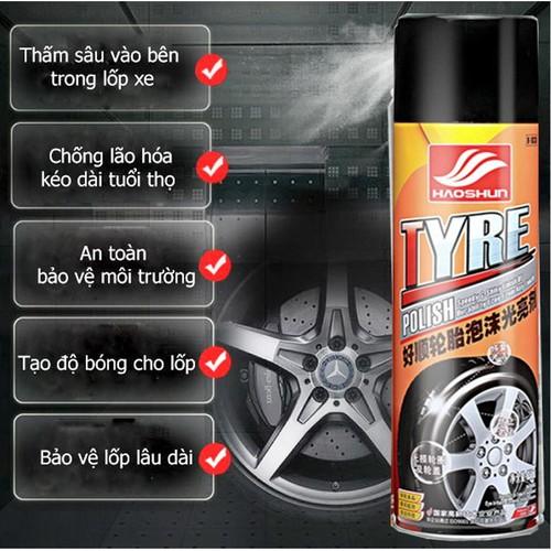 Chai xịt dưỡng bóng lốp xe ô tô, xe máy, chai lớn 650ml - tyre polish - 17761423 , 22148705 , 15_22148705 , 86000 , Chai-xit-duong-bong-lop-xe-o-to-xe-may-chai-lon-650ml-tyre-polish-15_22148705 , sendo.vn , Chai xịt dưỡng bóng lốp xe ô tô, xe máy, chai lớn 650ml - tyre polish