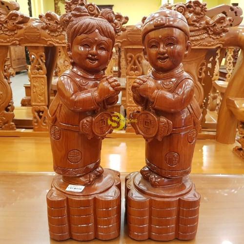 Tiên đồng ngọc nữ chúc phúc gỗ hương cao 50