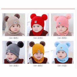 Set mũ len 2 quả bông kèm khăn cho bé yêu
