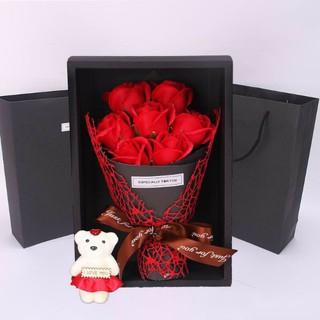 Hộp Hoa sáp siêu đẹp_tặng gấu bông - Hd65324 thumbnail