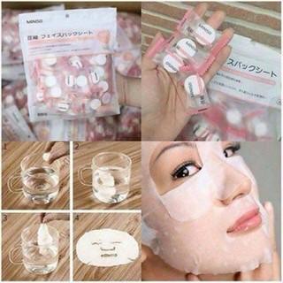 COMBO 100 Miếng Mặt Nạ Giấy Nén Miniso Nhật Bản - mặt nạ miniso. thumbnail