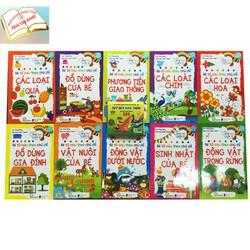 Combo 10 sách bé tô màu tặng hộp sáp 12 màu