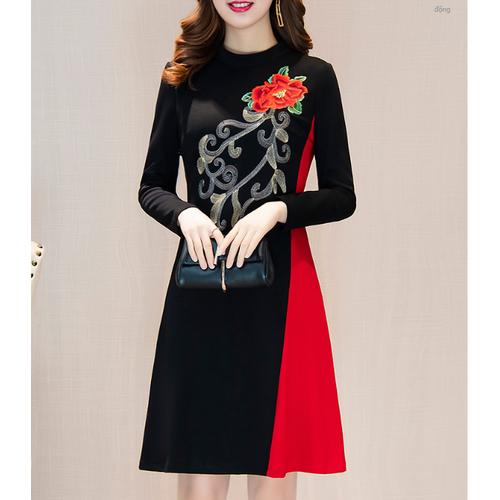 Đầm nữ dài tay họa tiết thêu hoa hồng thương hiệu oudilei