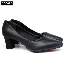 Giày cao gót vuông 5P đính đá mũi nhọn Rozalo R5645