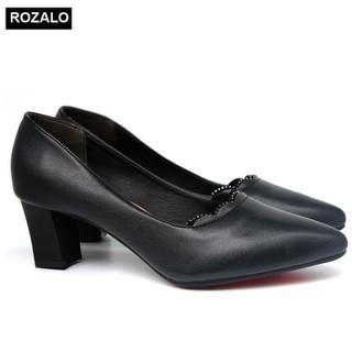 Giày cao gót vuông 5P đính đá mũi nhọn Rozalo R5645 - 5645 thumbnail