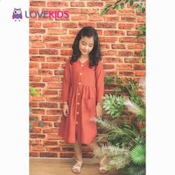 Váy đũi cam đất dài tay Lovekids phối cúc - LK0385