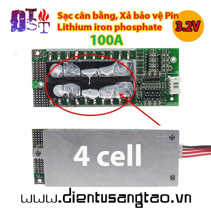 Mạch sạc cân bằng xả bảo vệ Pin lithium iron phosphate 4 cell 3.2V 100A