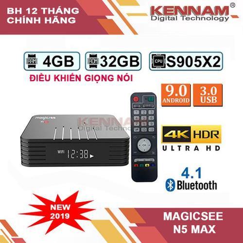 Android tv box magicsee n5 max- ram 4g – android 9.0, chip amlogic s905x2