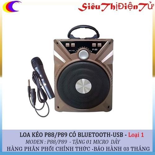 Loa bluetooth p88 p89 tặng kèm mic dây karaoke màu giao ngẫu nhiên - p88 p89