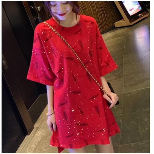 A76906 - áo thun nữ ánh nhũ dáng dài hàng nhập