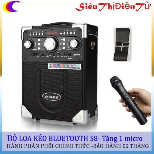 Loa kéo daile s8 có 1 micro - loa sách tay s8 tiện lợi khi di chuyển - loa karaoke thoải mái