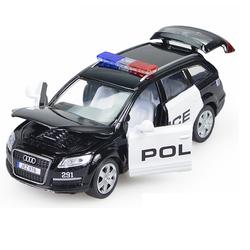 Mô hình xe ô tô cảnh sát Audi Q7 có đèn và âm thanh tỉ lệ 1:32 bằng KIM LOẠI
