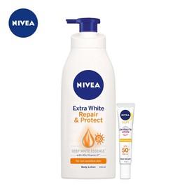 Bộ sản phẩm Sữa dưỡng thể Nivea trắng mịn phục hồi da 350ml & Tinh chất chống nắng dưỡng trắng Nivea 30ml - TUNI0098CB