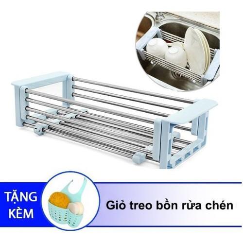 [Quà đỉnh 0đ] khay inox kê bồn rửa chén co giãn tặng giỏ nhựa treo bồn rửa chén