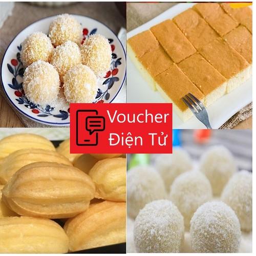 Hcm [e-voucher] set 47 bánh gồm 25 su kem mini + 10 khoai mì dừa + 1 hộp bông lan nhật