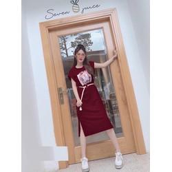 Đầm Suông Dài Thời Trang Hot Trend In Hình - Hàng Cao Cấp