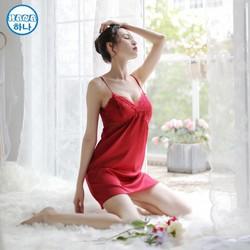 MUA 2 SP HỖ TRỢ SHIP ĐƯỢC XEM HÀNG - Váy ngủ thun lụa satin tặng quần lót chữ T sexy quyến rủ  dưới 55 kg