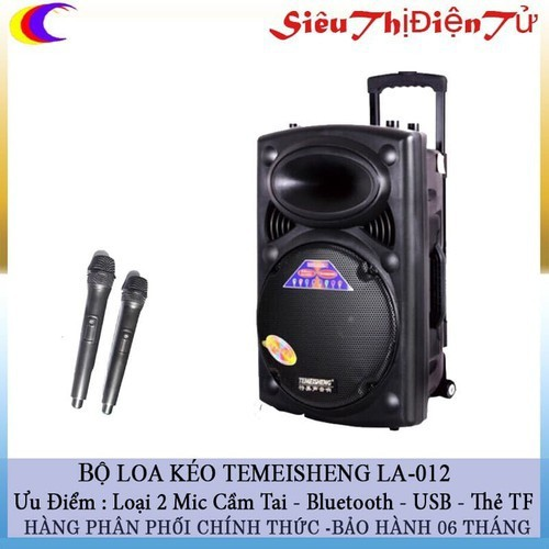 Loa kéo di động temeisheng la -012 tặng 02 mic- loa kéo karaoke la012 tiện lợi với bass 30cm