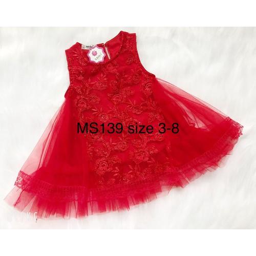 Đầm công chúa sansa ren thêu ms 139 size 3 cho bé từ 16-17 kg
