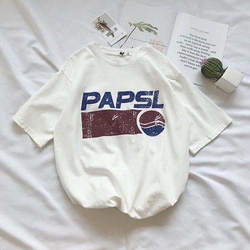 Áo thun nam nữ unisex papsl trắng, xanh đen, nâu áo thun nam nữ tay lỡ form rộng cam kết như hình atp01