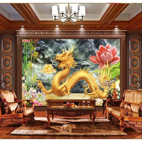 Tranh dán tường rồng vàng