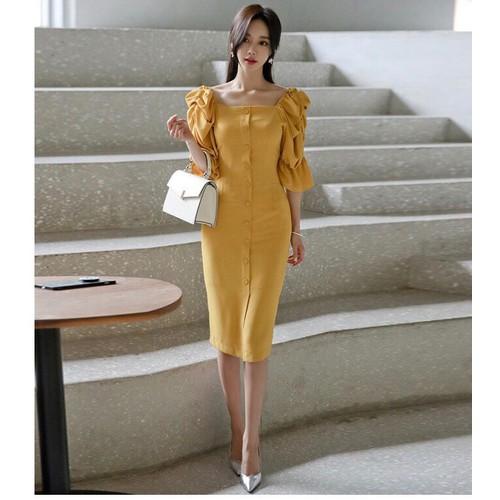 Đầm ôm vàng tay nhúng - 12726330 , 21507562 , 15_21507562 , 245000 , Dam-om-vang-tay-nhung-15_21507562 , sendo.vn , Đầm ôm vàng tay nhúng