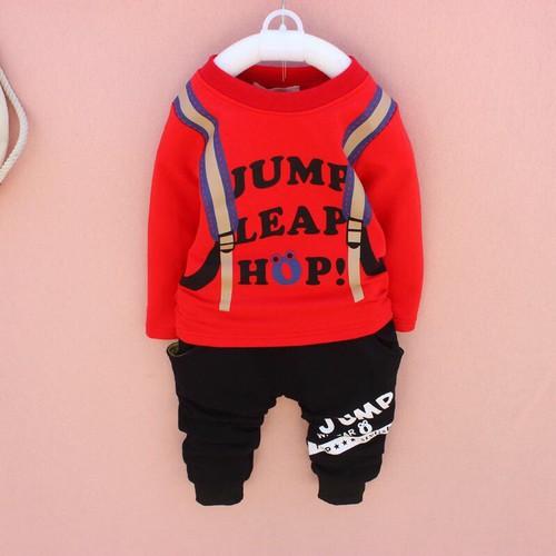 Sét bộ quần áo thu đông trẻ em in hình balo dành cho bé trai 8-18kg