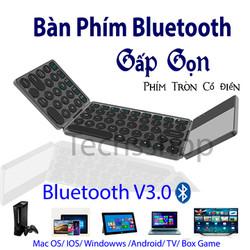 Bàn phím bluetooth gấp gọn đa năng có chuột cảm ứng - bàn phím không dây xếp gọn - Loại phím tròn