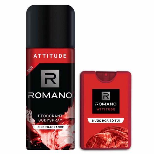 Combo xịt khử mùi toàn thân romano attitude 150ml và nước hoa bỏ túi attitude 18ml