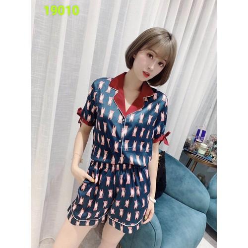 Bộ pyjama lụa đùi con mèo md19010