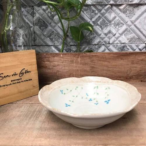 Dĩa gốm dĩa gốm sâu lòng hoa xanh nhỏ mini 15x4cm