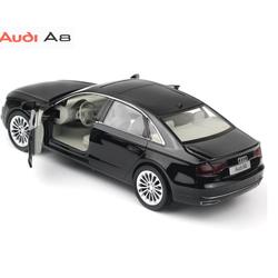 Đồ chơi xe mô hình ô tô Audi A8 tỉ lệ 1:32 bằng KIM LOẠI - Xe ô tô chạy bằng cót có đèn và âm thanh mở được cửa xe