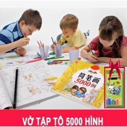 Sách tập tô 5000 hình kèm 12 bút chì màu cho bé