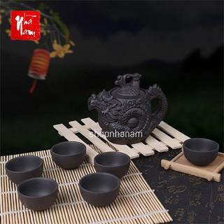 Bộ ấm chén trà hoạ tiết rồng phượng đồ chơi bàn trà, ấm chén rồng gốm tử sa - BTPK_AmChenRongPhuong thumbnail