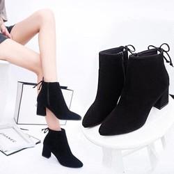 Giày boot nữ da lộn gót vuông 5cm siêu xinh