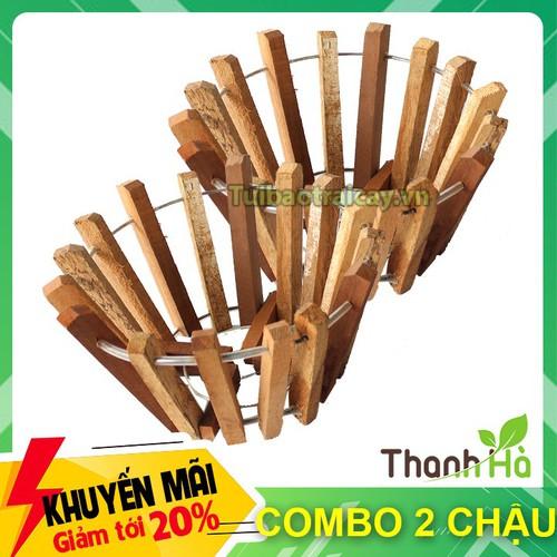 2 cái - chậu gỗ trồng lan thanh gỗ bản vuông phi 20cm