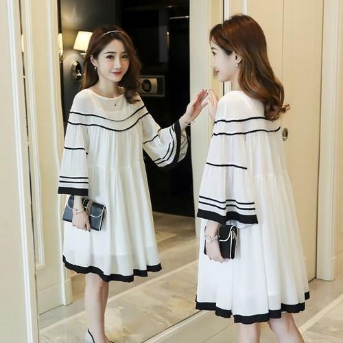 Đầm bầu trắng viền đen